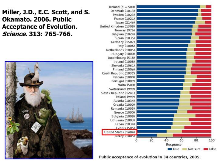 Miller, J.D., E.C. Scott, and S. Okamato. 2006. Public Acceptance of Evolution.