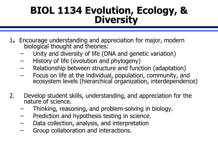 BIOL 1134 Evolution, Ecology, & Diversity