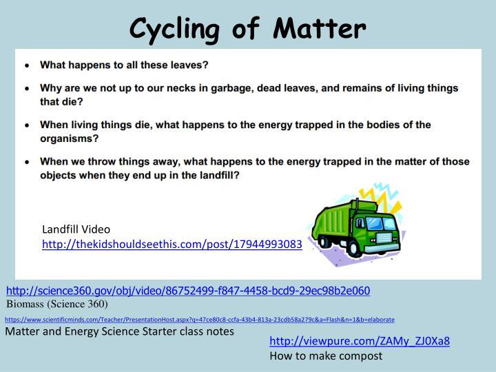 Cycling of Matter
