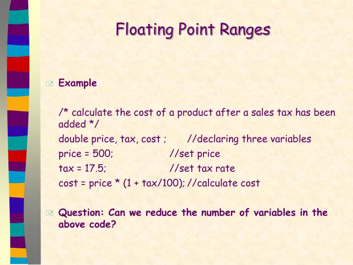 Floating Point Ranges