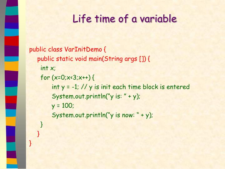 Life time of a variable
