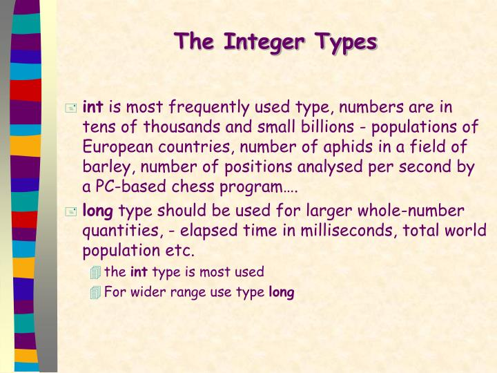 The Integer Types