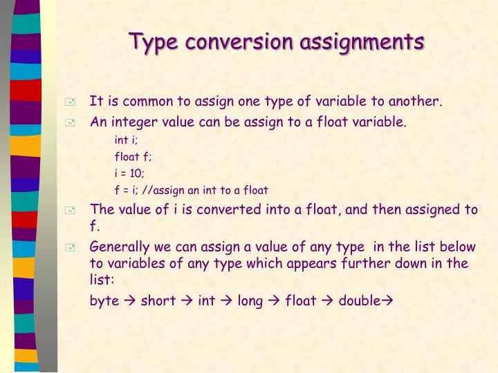 Type conversion assignments