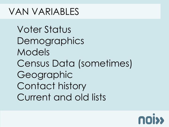 Van variables