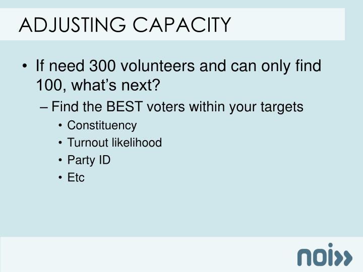 Adjusting capacity