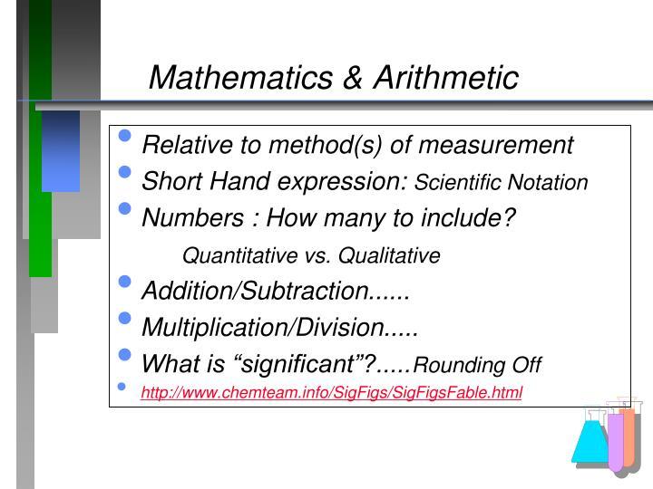 Mathematics & Arithmetic