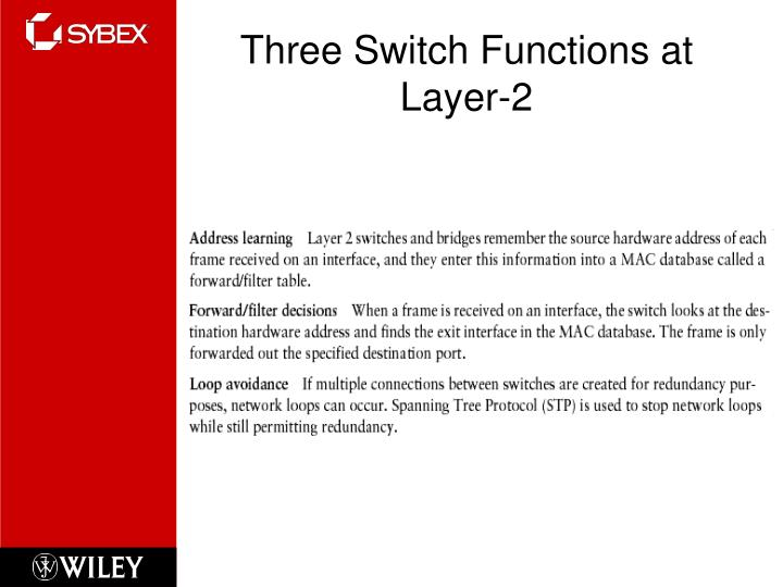 Three Switch Functions at Layer-2