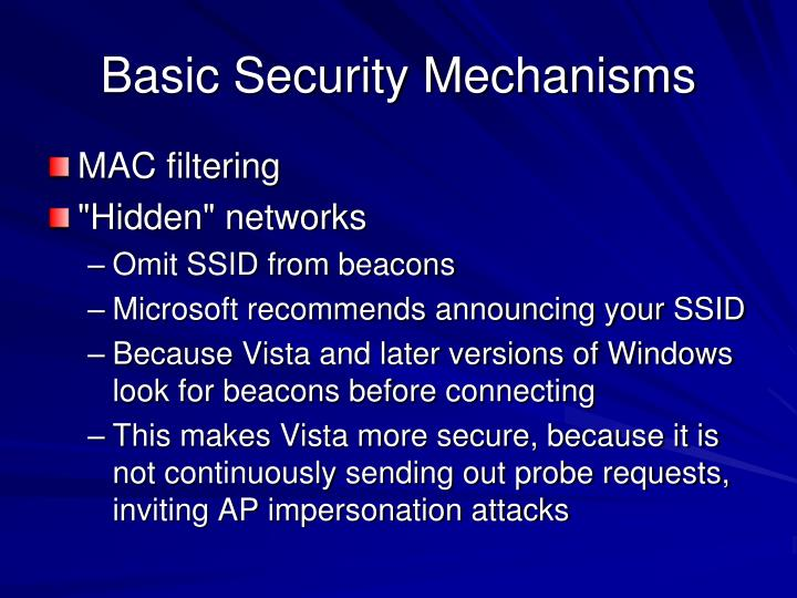 Basic Security Mechanisms