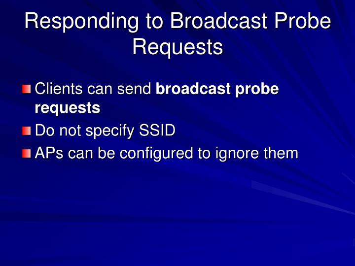 Responding to Broadcast Probe Requests