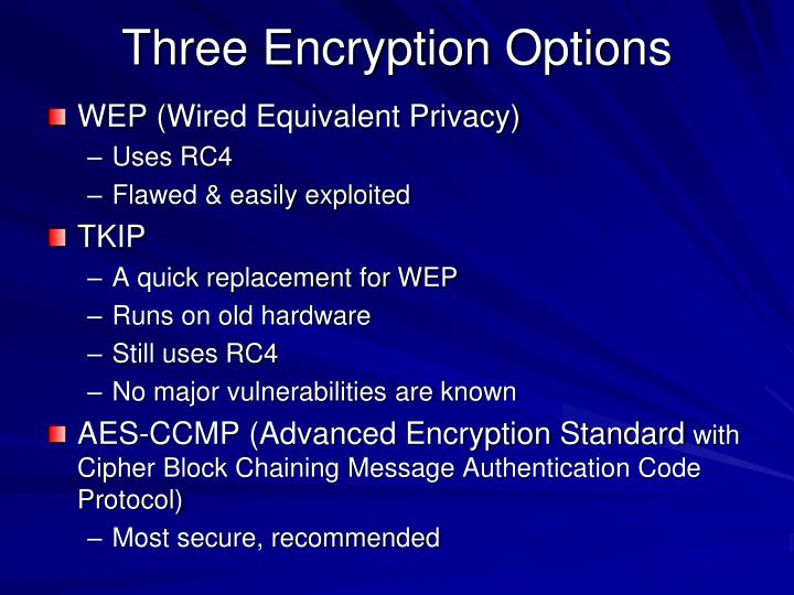 Three Encryption Options