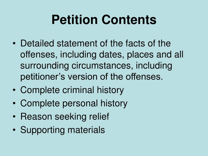 Petition Contents