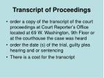 transcript of proceedings