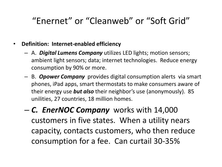 """Enernet"" or ""Cleanweb"" or ""Soft Grid"""