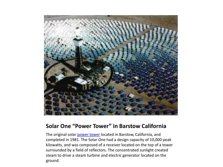 "Solar One ""Power Tower"" in Barstow California"