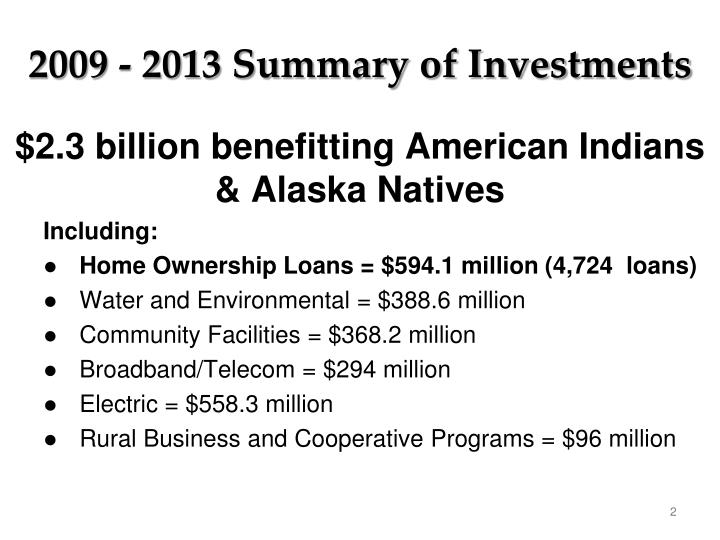 2009 2013 summary of investments