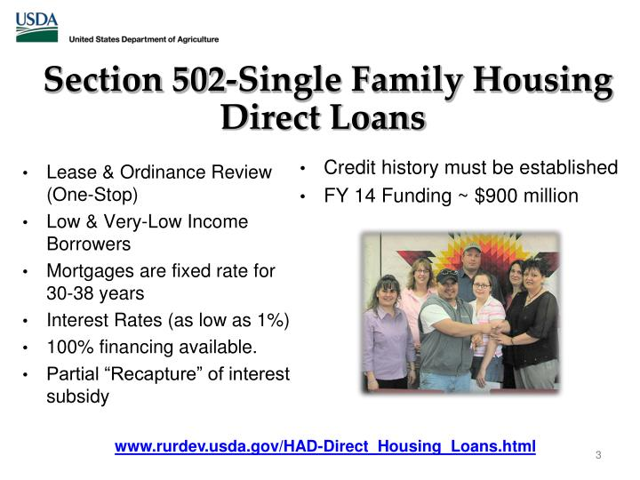 Section 502 single family housing direct loans