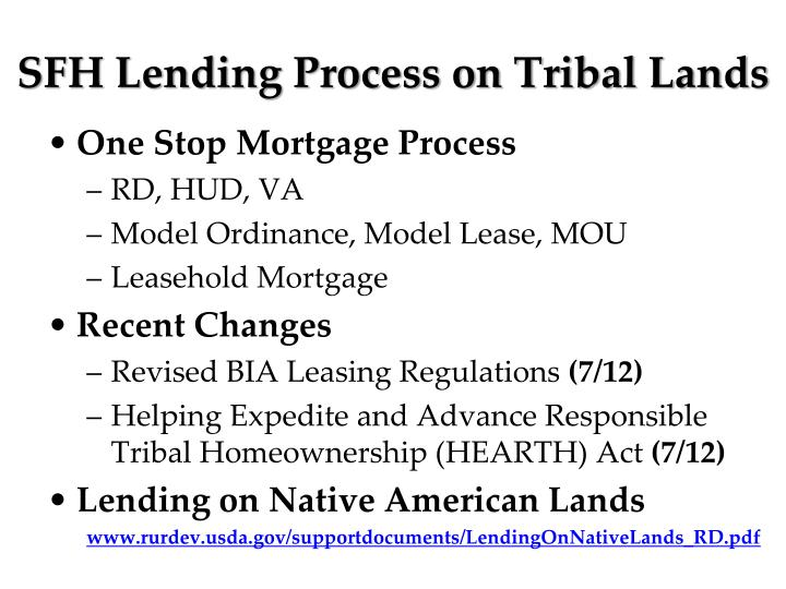 SFH Lending Process on Tribal Lands