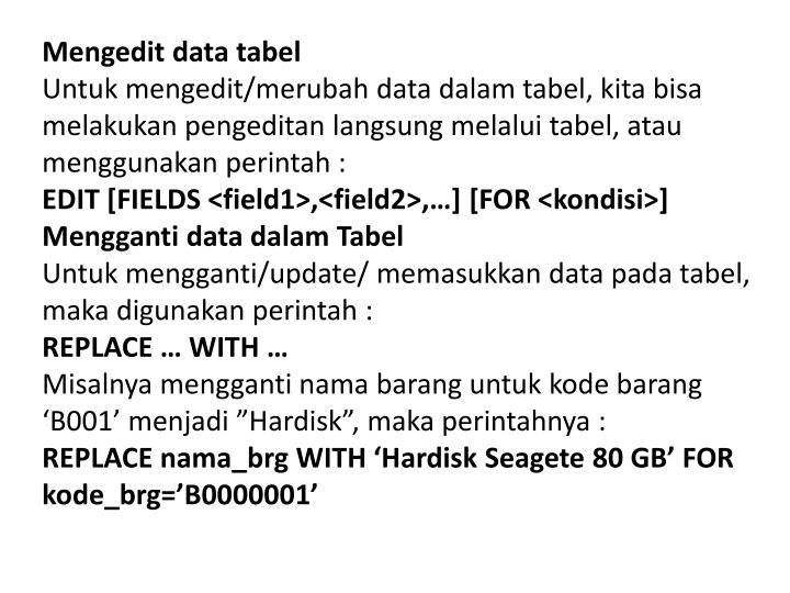 Mengedit data tabel