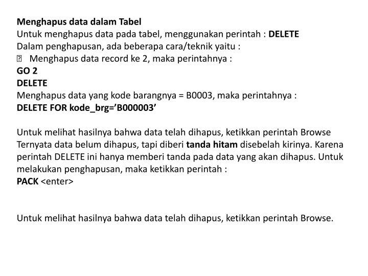 Menghapus data dalam Tabel
