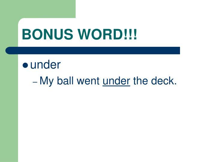 BONUS WORD!!!