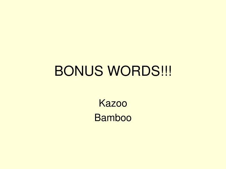 BONUS WORDS!!!