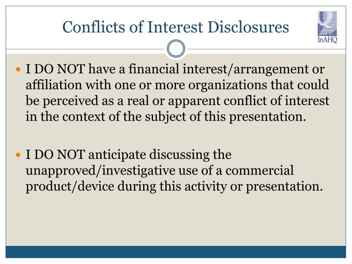 Conflicts of interest disclosures