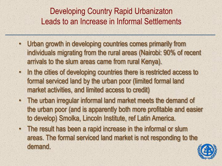 Developing Country Rapid Urbanizaton