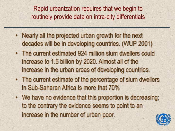 Rapid urbanization requires that we begin to