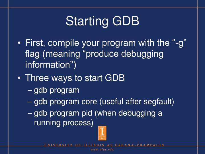Starting GDB