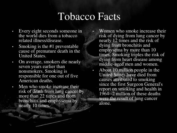 Every eight seconds someone in the world dies from a tobacco related illness/disease.