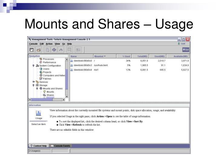 Mounts and Shares – Usage