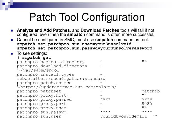 Patch Tool Configuration