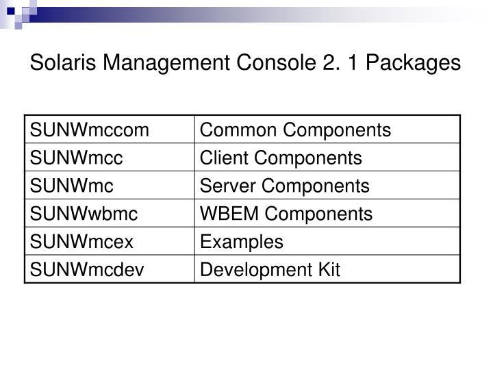 Solaris Management Console 2. 1 Packages