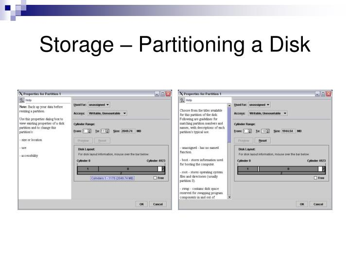 Storage – Partitioning a Disk