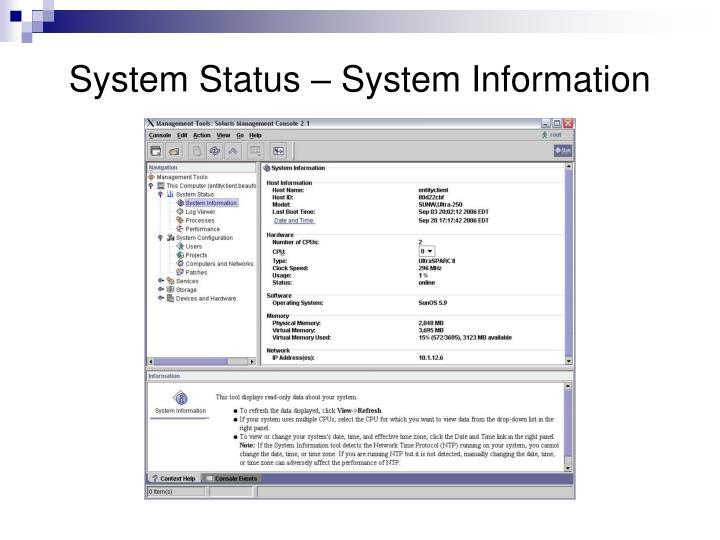 System Status – System Information