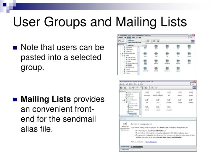 User Groups and Mailing Lists