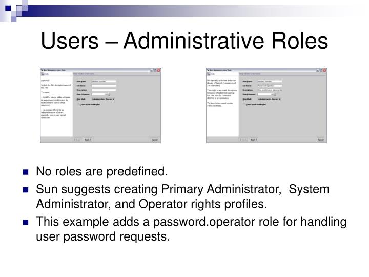 Users – Administrative Roles