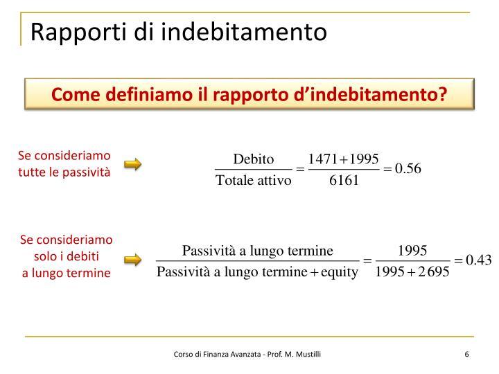 Rapporti di indebitamento