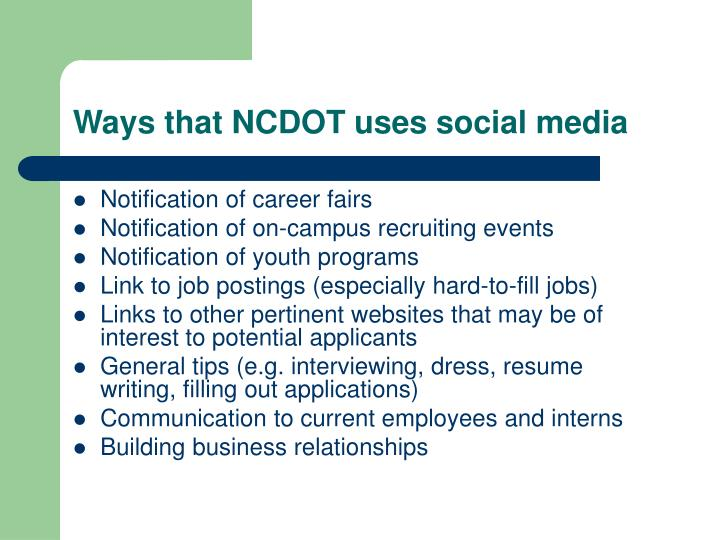 Ways that NCDOT uses social media