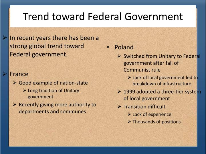 Trend toward Federal Government
