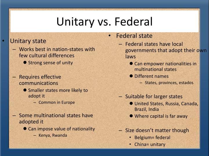 Unitary vs. Federal