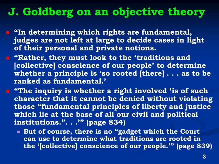 J. Goldberg on an objective theory