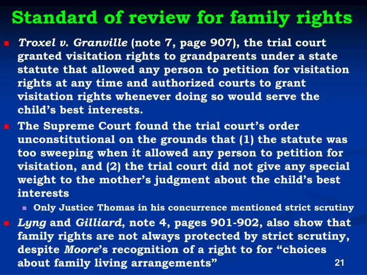 Standard of review for family rights