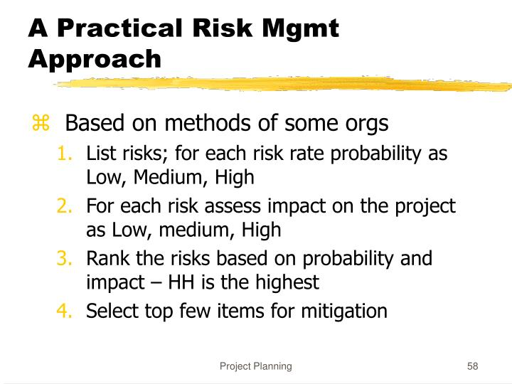 A Practical Risk Mgmt Approach