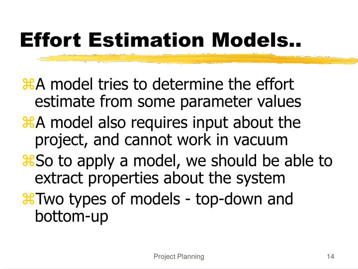 Effort Estimation Models..