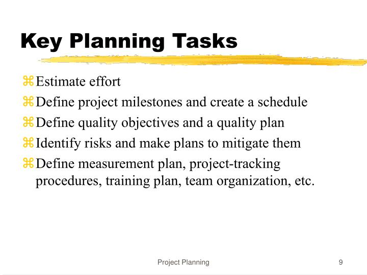 Key Planning Tasks
