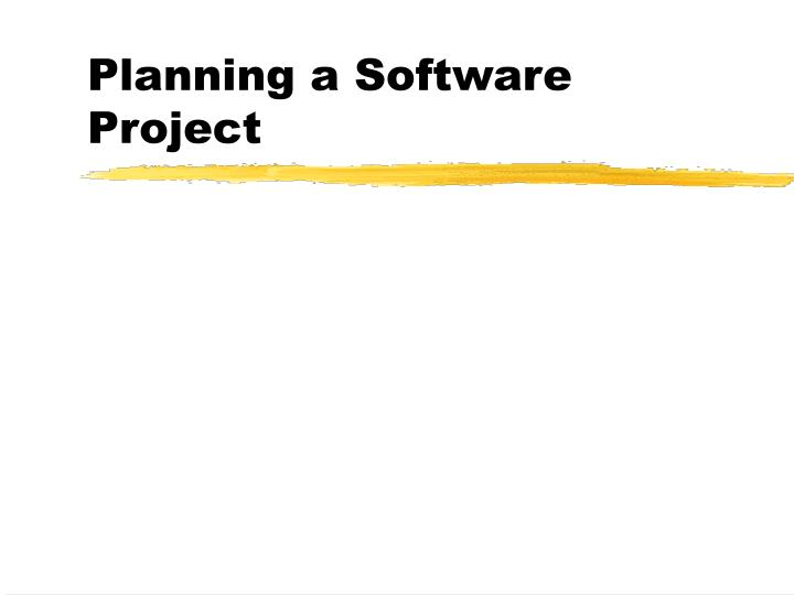Planning a software project