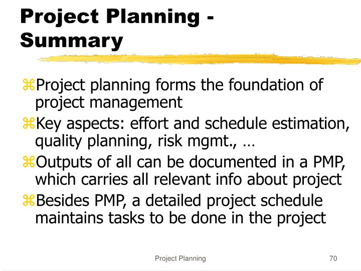 Project Planning - Summary