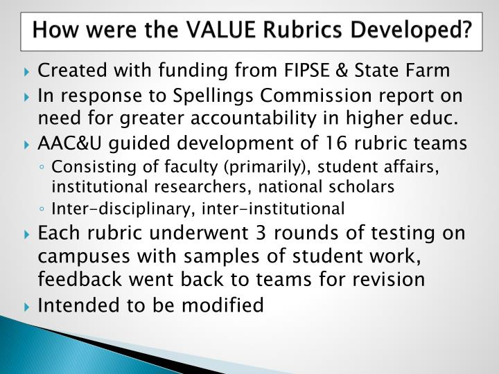 How were the value rubrics developed