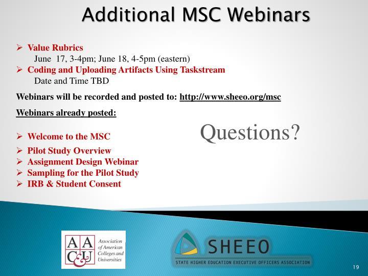 Additional MSC Webinars